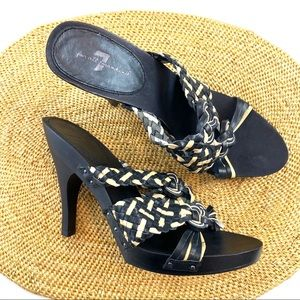 7FAM Wooden Heel Weave Strap High Heels
